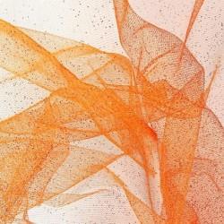 Tissu Tulle Paillette Orange