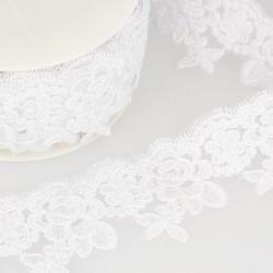 Broderie brillante Blanc -