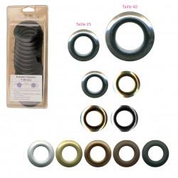 8 oeillets plastiques clipsables aspect métal