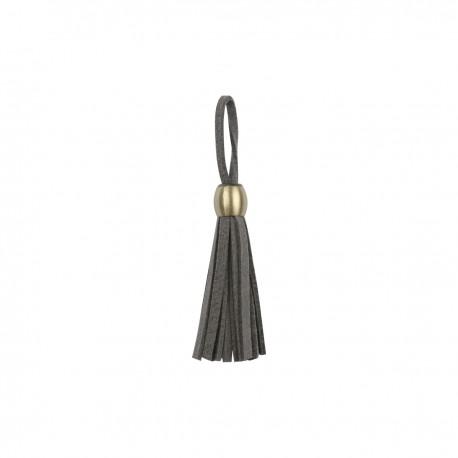 Pompon franges cuir 55mm