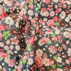 Tissu Popeline Sarah Shelby Digital Fleur Gris