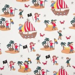 Tissu Jersey Imprimé Pirate Fond Blanc