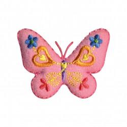 Papillon feutrine rose