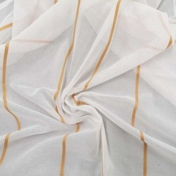 Tissu Voilage Saint Florent Blanc Brodé Moutarde
