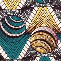 Tissu Super Wax Rond et triangle Vert et jaune