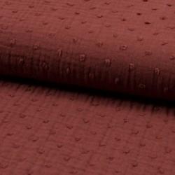 Tissu Double Gaze Pois Terracotta