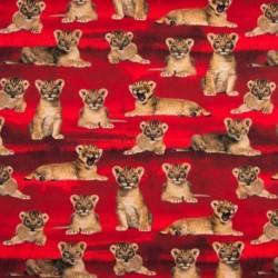 Tissu Digital Imprimé Lionceaux Fond Rouge