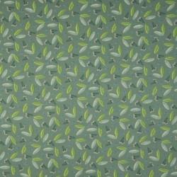 Tissu Jersey Coton Imprimé Feuillage Vert
