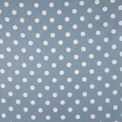 Tissu Coton Imprimé Pois Fond Bleu