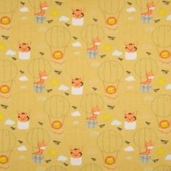 Tissu Jersey Coton Imprimé Animaux Jaune