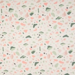Tissu Jersey Coton Imprimé Galet Blanc