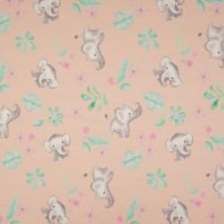 Tissu Jersey Coton Imprimé Elephant Rose